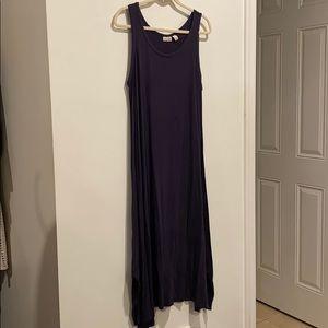 LOGO sleeveless dress dark blue flowy stretchy